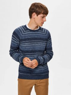 Modrý pruhovaný svetr Selected Homme-Male