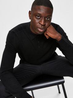 Černý pánský svetr s límečkem Selected Homme-Berg
