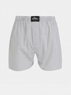 Bílo-šedé pánské pruhované trenýrky ELKA Underwear