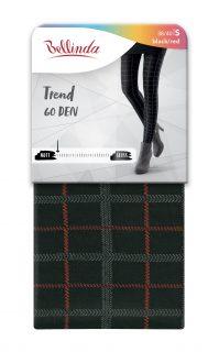 Punčochy TREND 60 DEN – Zimní punčochy se vzorem – černá – červená