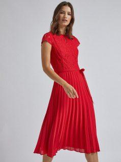 Červené plisované midišaty s krajkou Dorothy Perkins