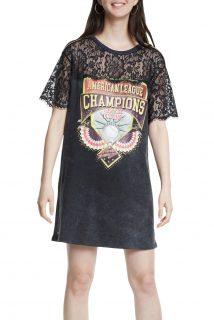 Desigual černé šaty Vest Champions s krajkou