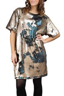 Simpo bronzovo-petrolejové flitrované šaty Flash