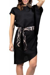 Simpo černé asymetrické šaty Storm s páskem
