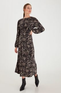 Ichi vzorované maxi šaty Ihkirsta Asphalt