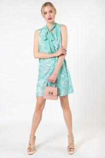 Rinascimento mentolové šaty s šátkem