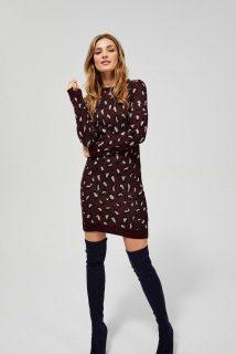 Moodo bordové šaty se vzorem