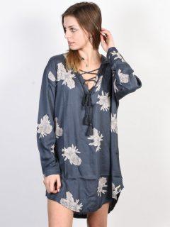 Roxy LONELY FOR U 2 TURBULENCE ROSE AND PEARLS krátké letní šaty – šedá