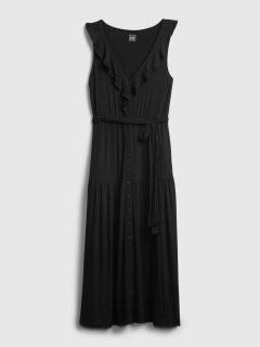 Černé dámské šaty sleeveless ruffle maxi dress