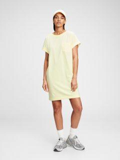 Žluté dámské šaty short sleeve front pocket shirtdress