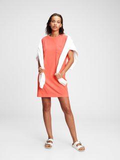 Oranžové dámské šaty GAP short sleeve front pocket shirtdress