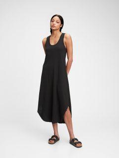 Černé dámské šaty scoopneck sleeveless midi dress GAP