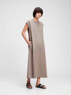Hnědé dámské šaty GAP short sleeve maxi dress