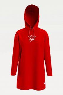 Tommy Hilfiger červené mikinové šaty Hoodie Dress