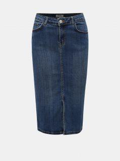 Modrá džínová rovná sukně s rozparkem Dorothy Perkins