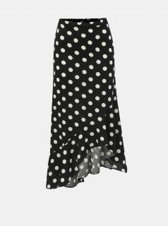 Černá puntíkovaná asymetrická sukně Miss Selfridge