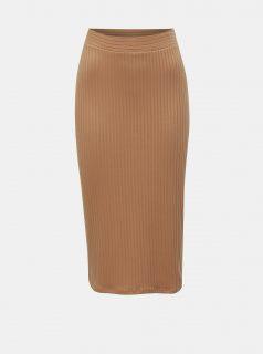 Béžová žebrovaná pouzdrová sukně TALLY WEiJL
