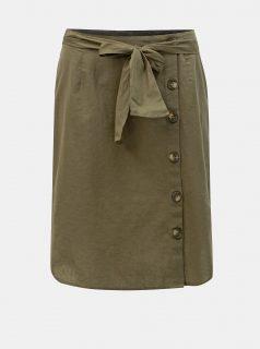 Khaki sukně s příměsí lnu Noisy May Line