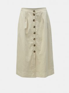 Béžová midi sukně s příměsí lnu Noisy May Line