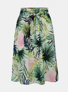 Bílo-zelená vzorovaná sukně ONLY Tropical