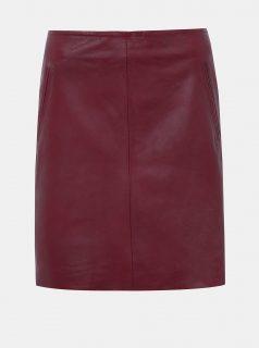 Vínová kožená sukně Selected Femme Nini