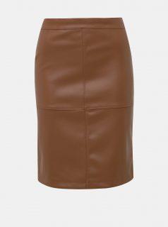 Hnědá koženková sukně VILA Pen
