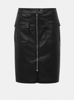 Černá koženková sukně VERO MODA Buttersia