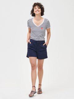 Modré dámské kraťasy 5 mid rise khaki shorts