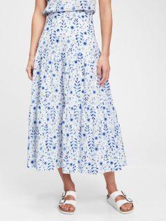 Bílá dámská sukně tiered maxi skirt