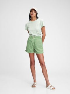 Zelené dámské kraťasy high rise paperbag shorts