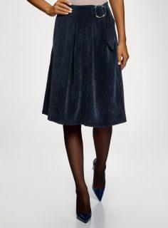 Sukně midi z materiálu s výraznou texturou OODJI